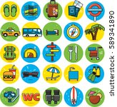 travel icons set flat colorful | Shutterstock . vector #589341890