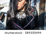 silver eagle necklace on female ...   Shutterstock . vector #589350494
