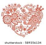 mehendi_style_heart | Shutterstock .eps vector #589356134