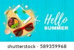 summer holiday web banner. top... | Shutterstock .eps vector #589359968