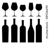 silhouettes of wineglasses and... | Shutterstock .eps vector #58936690