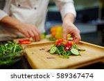fresh vegetarian salad on... | Shutterstock . vector #589367474
