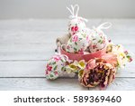 easter composition with eggs in ... | Shutterstock . vector #589369460