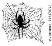 spider with web silhouette.... | Shutterstock .eps vector #589370714