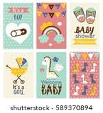 set of baby shower design.... | Shutterstock .eps vector #589370894