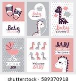 set of baby shower design.... | Shutterstock .eps vector #589370918