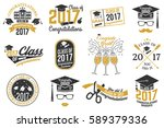 set of vector graduates class... | Shutterstock .eps vector #589379336