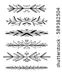 hand drawn floral borders ... | Shutterstock .eps vector #589382504