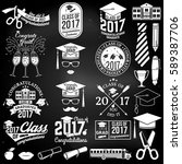 set of vector graduates class... | Shutterstock .eps vector #589387706