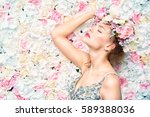 beautiful romantic young woman... | Shutterstock . vector #589388036