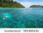 snorkeling at koh rok  andaman...   Shutterstock . vector #589389650