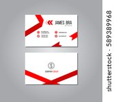 modern red ribbon business card ... | Shutterstock .eps vector #589389968
