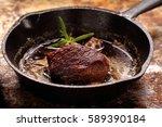 Beef Steak On Cast Iron Skille...