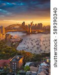 sydney. cityscape image of... | Shutterstock . vector #589390340
