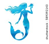 mermaid  hand drawn vector... | Shutterstock .eps vector #589392143