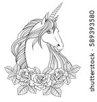 unicorn and roses  hand drawn... | Shutterstock .eps vector #589393580