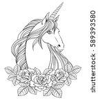 Unicorn And Roses  Hand Drawn...