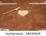 Baseball   Bat Near Home Plate...