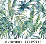Stock photo natural leaves exotic watercolor seamless pattern green tropical leaves fern dense jungle hand 589397564
