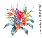 Stock photo watercolor vintage floral tropical greeting card exotic flowers bird of paradise fern twigs and 589397588