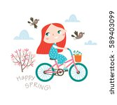 happy spring  greeting card in... | Shutterstock .eps vector #589403099