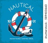 nautical vector t shirt design | Shutterstock .eps vector #589403660