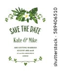 save the date card with... | Shutterstock .eps vector #589406510