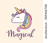 cute magical unicorn head... | Shutterstock .eps vector #589406708