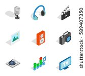 computer technology icons set.... | Shutterstock . vector #589407350