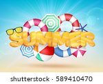 3d summer text vector... | Shutterstock .eps vector #589410470