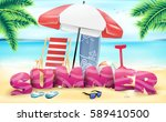3d summer beach vector design... | Shutterstock .eps vector #589410500