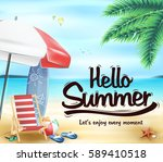 hello summer in the beach... | Shutterstock .eps vector #589410518