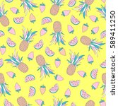 funny seamless pattern with... | Shutterstock .eps vector #589411250