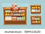 dairy products set. supermarket ... | Shutterstock .eps vector #589413620