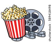 cinema objects   popcorn in red ... | Shutterstock .eps vector #589418498