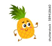 cute and funny pineapple... | Shutterstock .eps vector #589418660