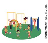kids  children playing at... | Shutterstock .eps vector #589419206