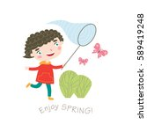 enjoy spring  greeting card in... | Shutterstock .eps vector #589419248