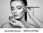 black and white photo makeup... | Shutterstock . vector #589419980