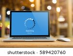 laptop on table with searching...   Shutterstock . vector #589420760
