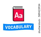 vocabulary. ribbon with book... | Shutterstock .eps vector #589423934