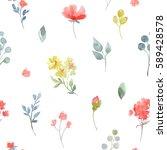 gentle watercolor floral... | Shutterstock . vector #589428578