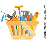 shopping basket with repair and ... | Shutterstock .eps vector #589432394