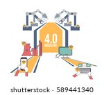 flat style industry 4.0 concept ... | Shutterstock .eps vector #589441340