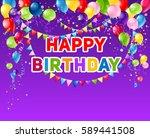 positive holiday birthday card | Shutterstock .eps vector #589441508