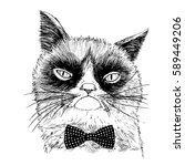 hand drawn portrait of grumpy... | Shutterstock .eps vector #589449206