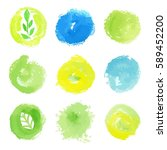 set of watercolor green and...   Shutterstock .eps vector #589452200