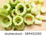 scooped out bitter cucumber... | Shutterstock . vector #589452350