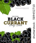 organic berry banner with juicy ... | Shutterstock .eps vector #589452710