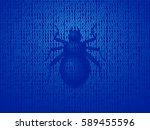 vector software bug on computer ... | Shutterstock .eps vector #589455596
